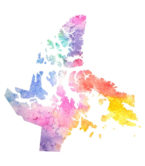 Image of geographical land of Nunvut in rainbow colours